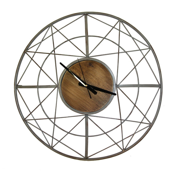 Round Wooden Skeleton Clock