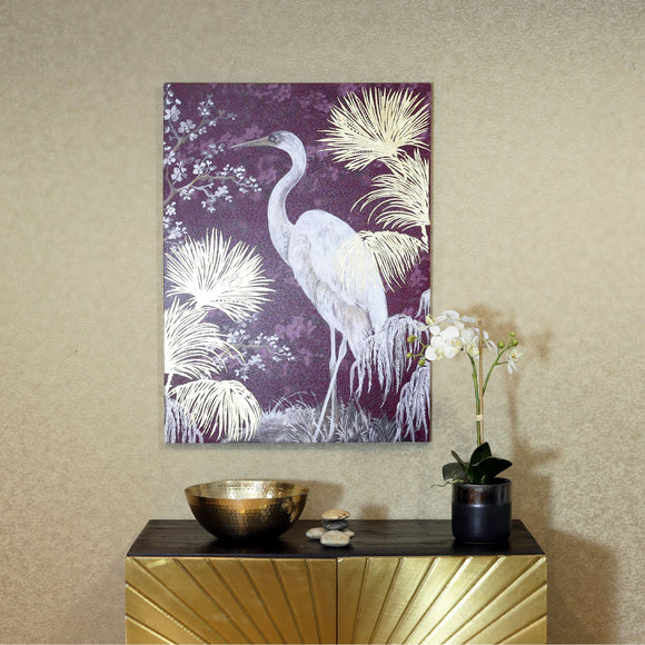 Large Stork Metallic Canvas Print