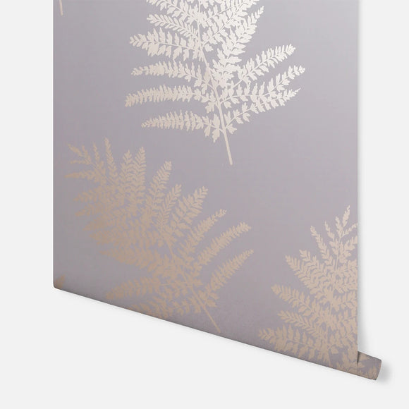 Metallic Fern Charcoal/Rose Gold Wallpaper