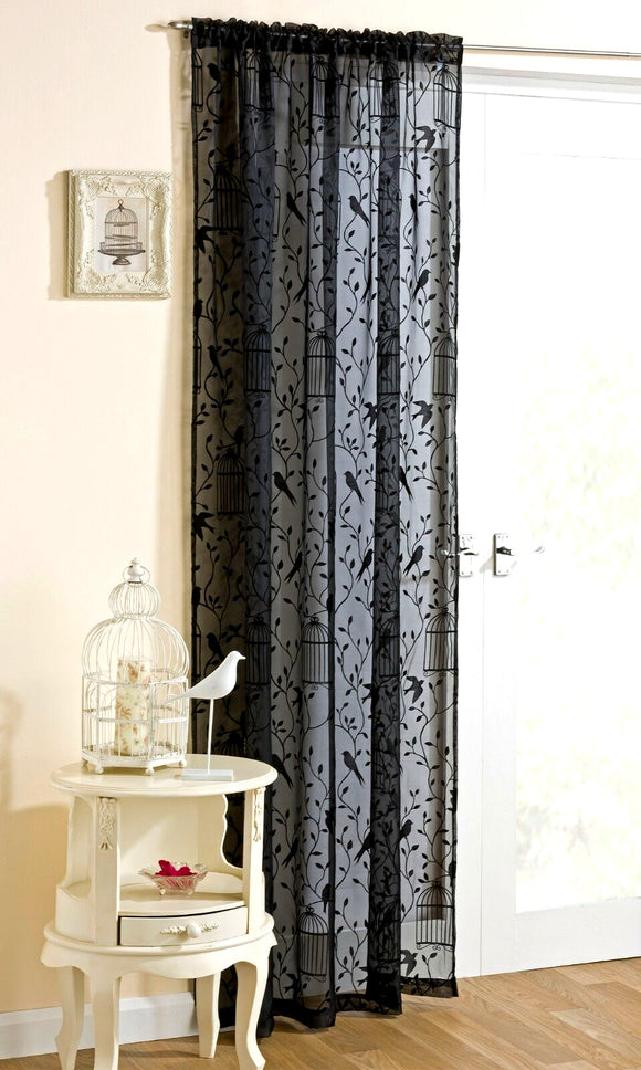 Nightingale Bird Flock Voile Panel