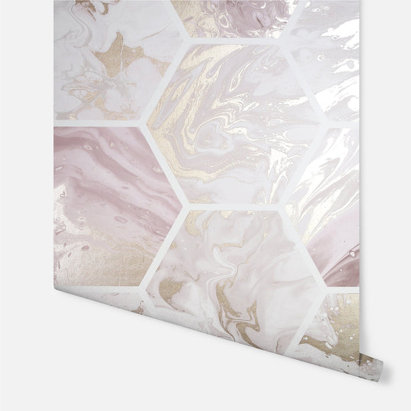 Marbled Hex Pink/Rose Gold Wallpaper