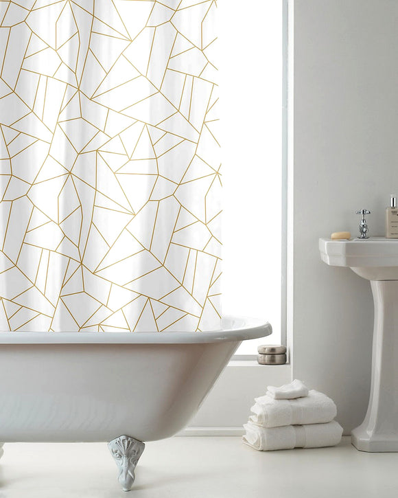 Geometric Hookless Shower Curtain