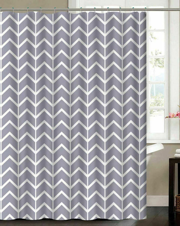 Chevron Waffle Shower Curtain Set