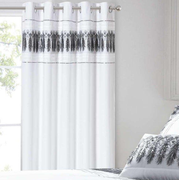 Feathers Metallic Sequin Bedroom Curtains