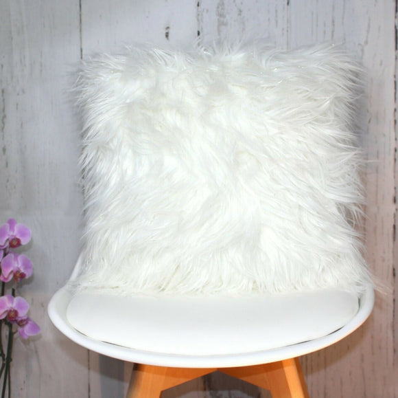 Glitter Faux Fur Long Pile Cushion