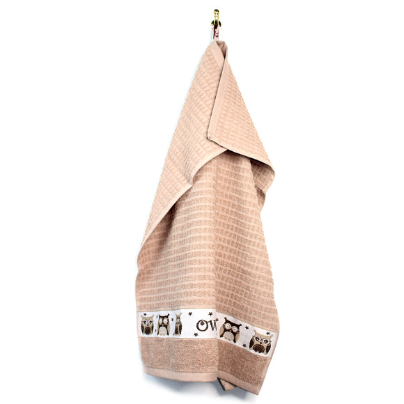 2pc Owls Beige Waffle Kitchen Towels
