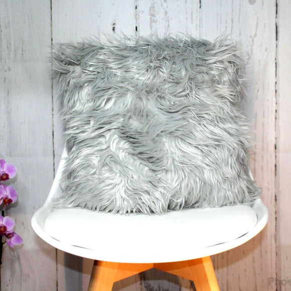 Grey Faux Fur Long Pile Cushion
