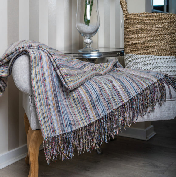 Classic Multi Striped Grey Throw