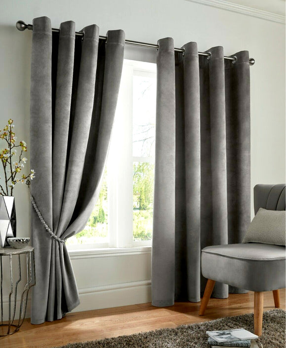 Velvet Grey Blackout Curtain Pair