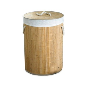 Round Natural Bamboo Laundry Hamper