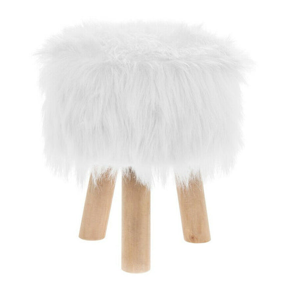 Furry Round Footstool