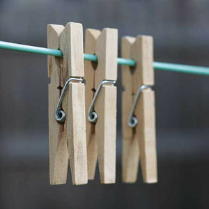 24x Natural Wooden Pegs