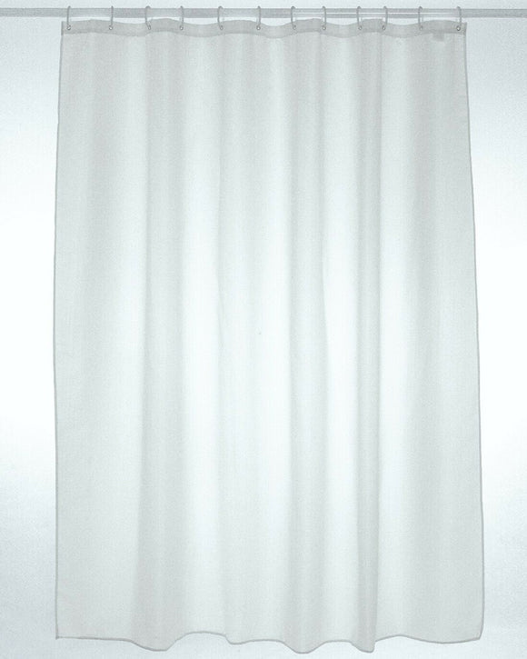 Plain White Fabric Shower Curtain Set
