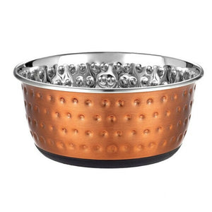 Classic Luxury Copper Embossed Dog Bowl