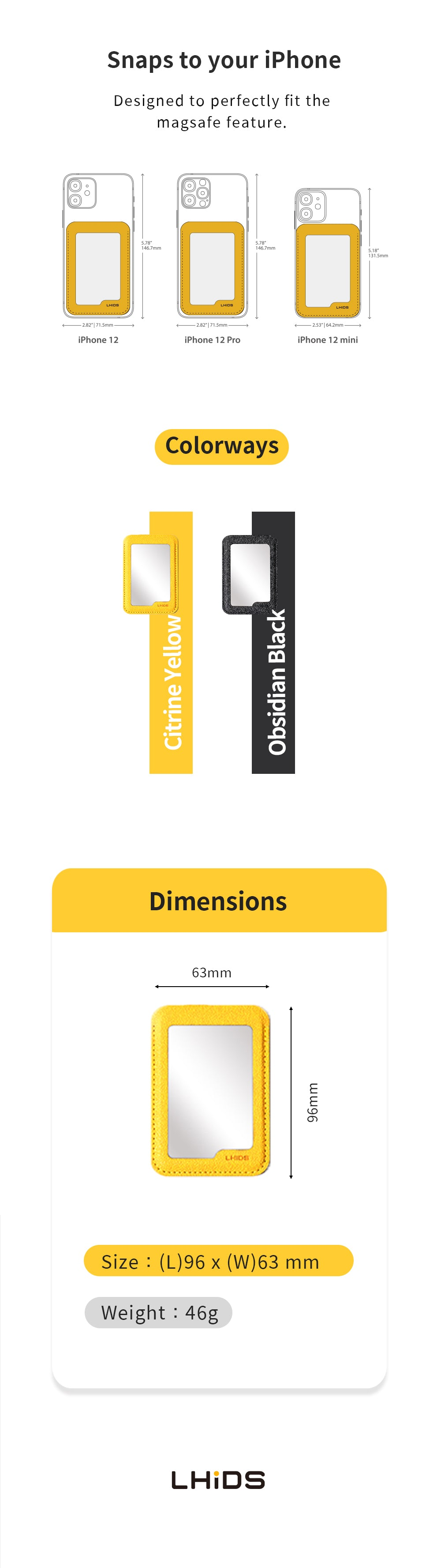 LHiDS MagMirror Phone Wallet colors and dimensions