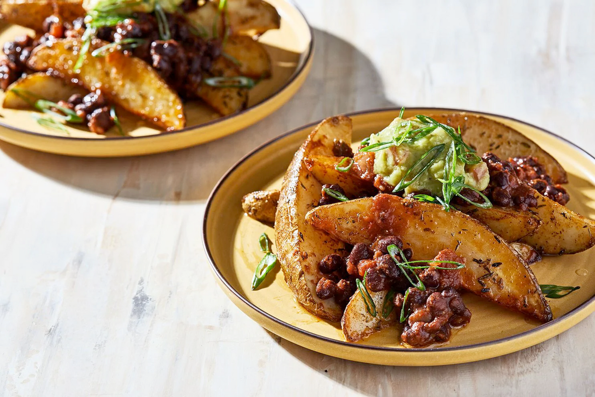 Roasted Potato Wedges With Black Bean Chili