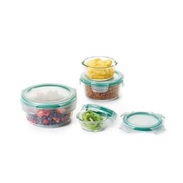 OXO 8-Piece Smart Seal Glass Round Container Set