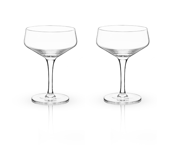 Angled Crystal Coupe Glasses, Set of 2