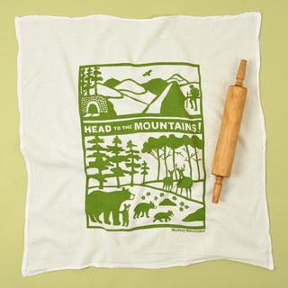 Flour Sack Towel: Head To The Mountains-Green