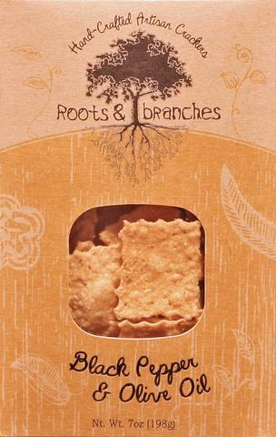 Roots & Branches Artisan Crackers, Black Pepper & Olive Oil
