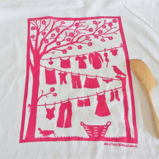Flour Sack Towel: Laundry Line-Raspberry