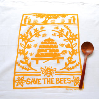 Flour Sack Towel: Bees-Yellow