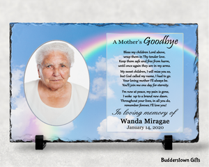 A Mothers Goodbye / Memorial Stone Slate - Free Shipping