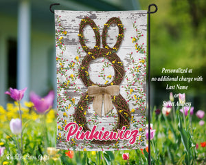 Easter Flag - Grapevine Bunny- 12x18 - Garden Flag - Single Sided - Free Shipping