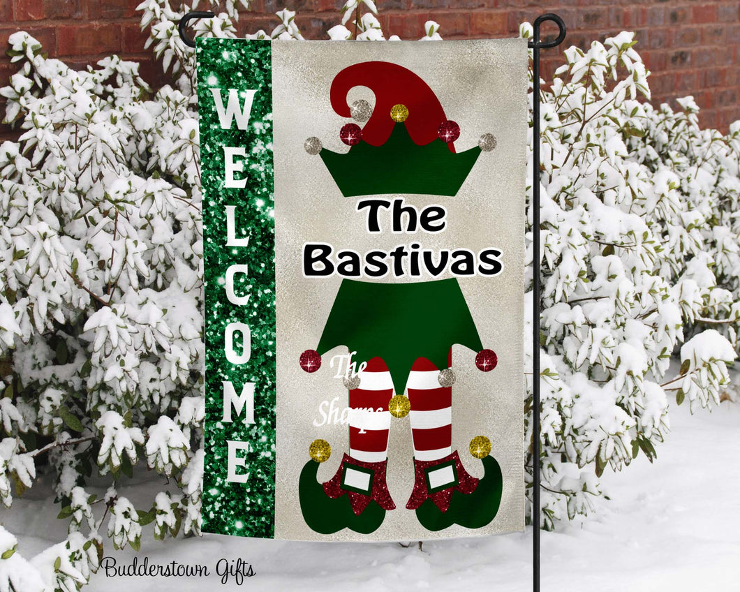 Christmas Elf Garden Flag - Personalized, Free Shipping