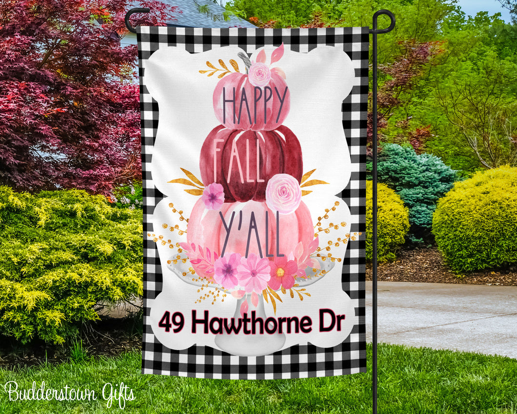 HAPPY PINK FALL- 12x18 - Garden Flag - Single Sided - Free Shipping!