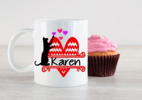 Cat Lover, Valentines, 11 or 15 ounce mug, 14 oz Travel mug