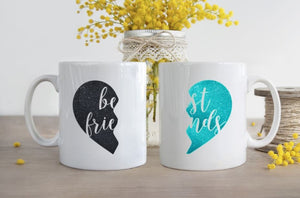 Best Friends Glitter Half heart, 3 sizes, Coffee, Mug