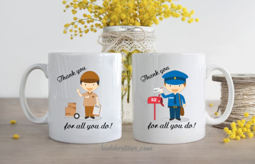 Delivery Person mugs, Mailman, UPS, Mail Courier, Fedex