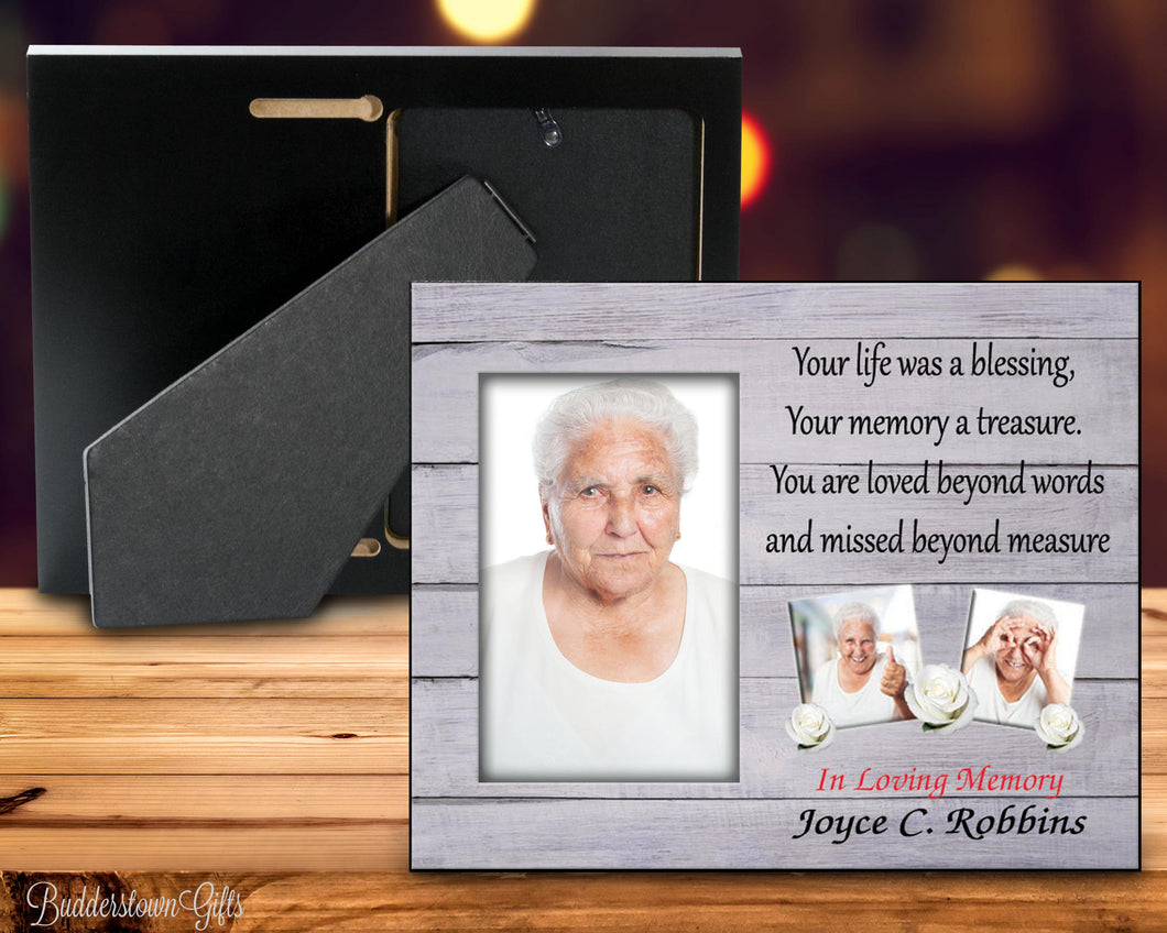 Your life was a blessing - 8x10 Frame - wood background