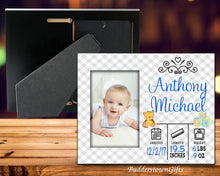 Load image into Gallery viewer, Baby Boy Stats Picture Frame-Personalized Birth Announcement