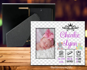 Baby Girl Picture Frame-Personalized Birth Announcement Picture Frame with stats