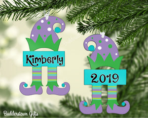 Christmas Elf Ornaments Purple/Green  - Free Shipping