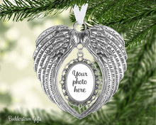 Load image into Gallery viewer, Angel Wings Photo Ornament  - 2 colors - Pet memorial, pet ornament, loss of a loved one, memorial ornament, sympathy gift, angel