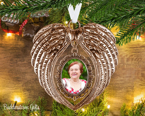 Angel Wings Photo Ornament - Loss of love one, pet loss, memorial ornament, sympathy gift, angel