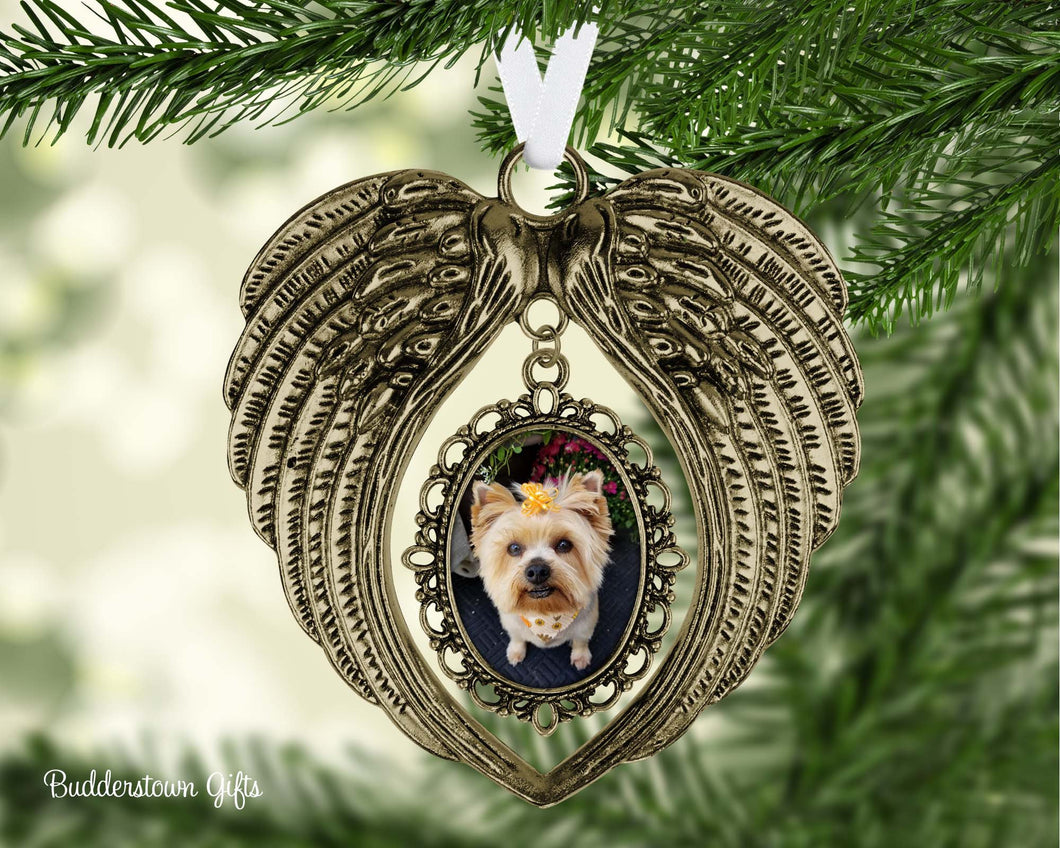 Angel Wings Photo Ornament  - 2 colors - Pet memorial, pet ornament, loss of a loved one, memorial ornament, sympathy gift, angel