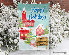 Load image into Gallery viewer, Small Town Snowman- 12x18 - Garden Flag - Single Sided - Free Shipping! - winter garden flag