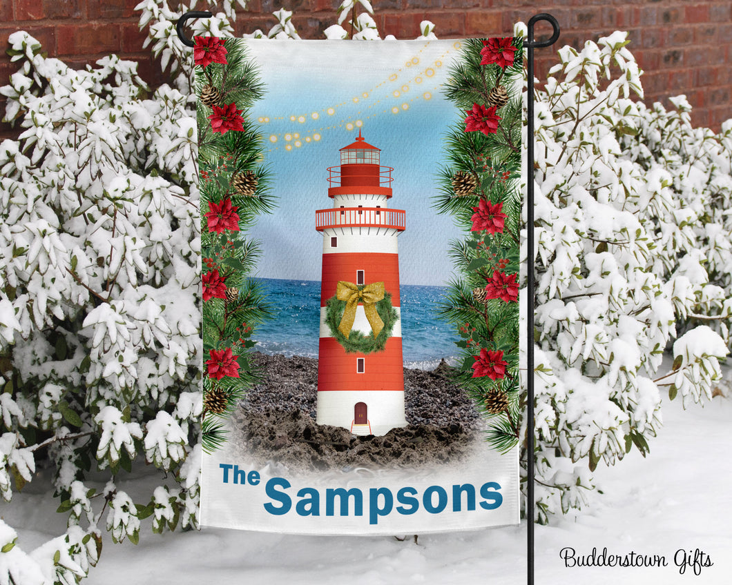 Winter Lighthouse - 12x18 - Garden Flag - Single Sided - Free Shipping! - winter garden flag