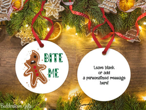 Gingerbread Bite Me Ornament - Free Shipping - , Ornament, gingerbread, snarky