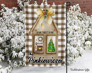 Home Sweet Home Plaid- 12x18 - Garden Flag - Single Sided - Free Shipping! - winter garden flag