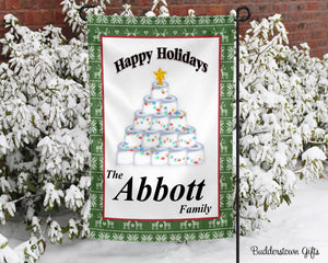 Festive TP Tree - 12x18 - Garden Flag - Single Sided - Free Shipping! - toilet paper - winter garden flag - 2020