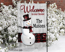 Load image into Gallery viewer, Winter Welcome Snowman - 12x18 - Garden Flag - Single Sided - Free Shipping! - winter garden flag