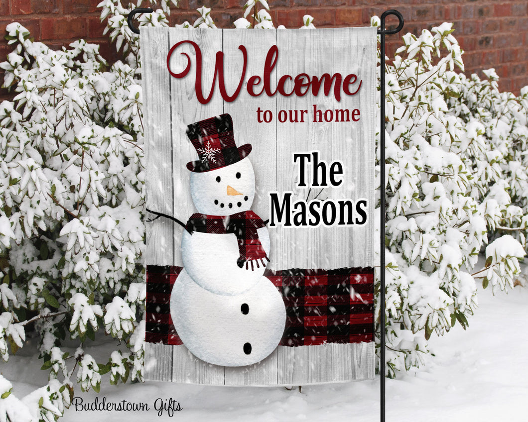 Winter Welcome Snowman - 12x18 - Garden Flag - Single Sided - Free Shipping! - winter garden flag