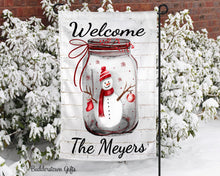 Load image into Gallery viewer, Snowman Mason Jar  - 12x18 - Garden Flag - Single Sided - Free Shipping!