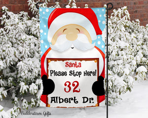 Santa Stop Here - 12x18 - Garden Flag - Single Sided - Free Shipping! - winter garden flag