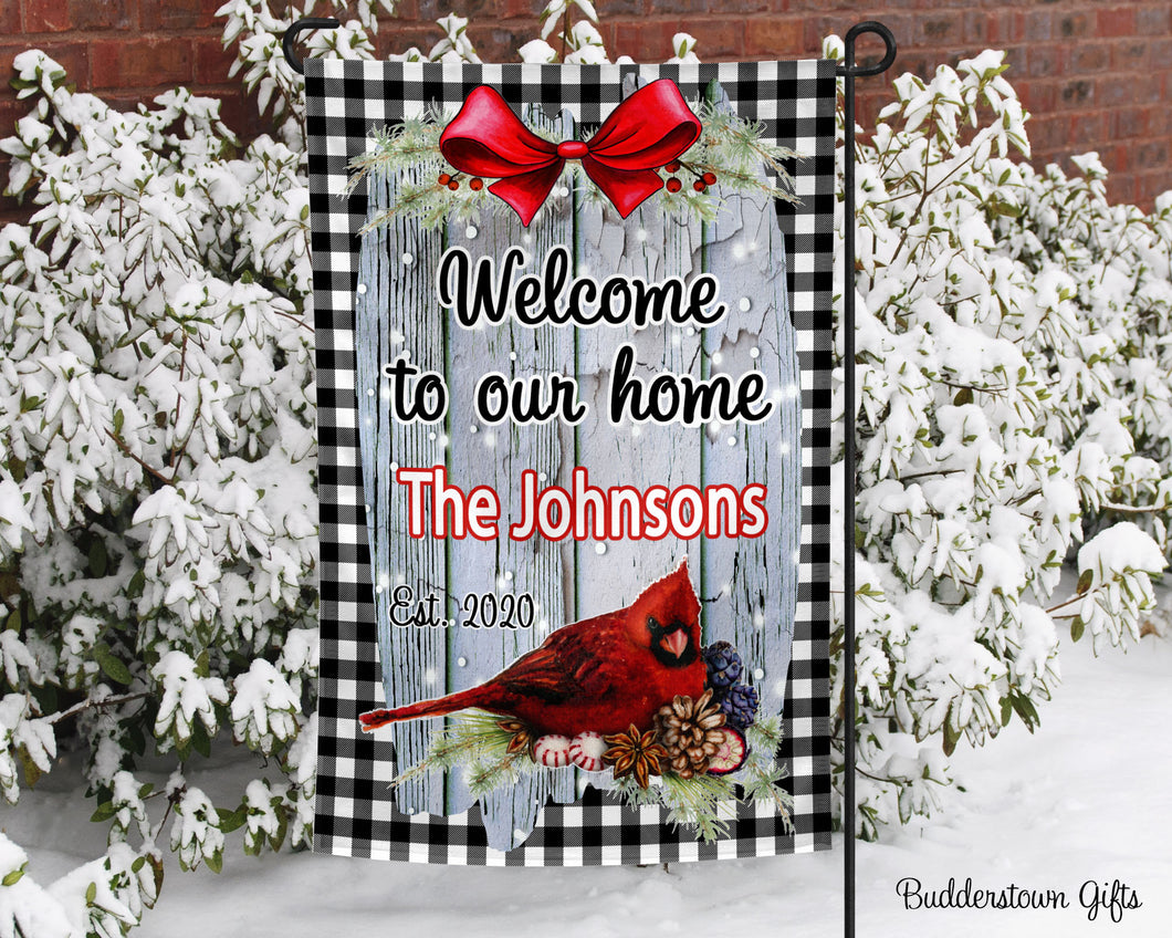 Welcome to our home - Cardinal- 12x18 - Garden Flag - Single Sided - Free Shipping! - winter garden flag